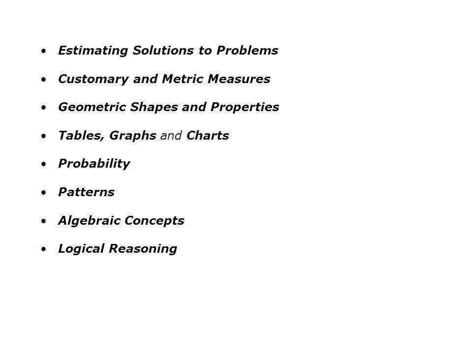 Estimating Solutions to Problems Customary and Metric Measures Geometric Shapes and Properties Tables, Graphs and Charts Probability Patterns Algebrai