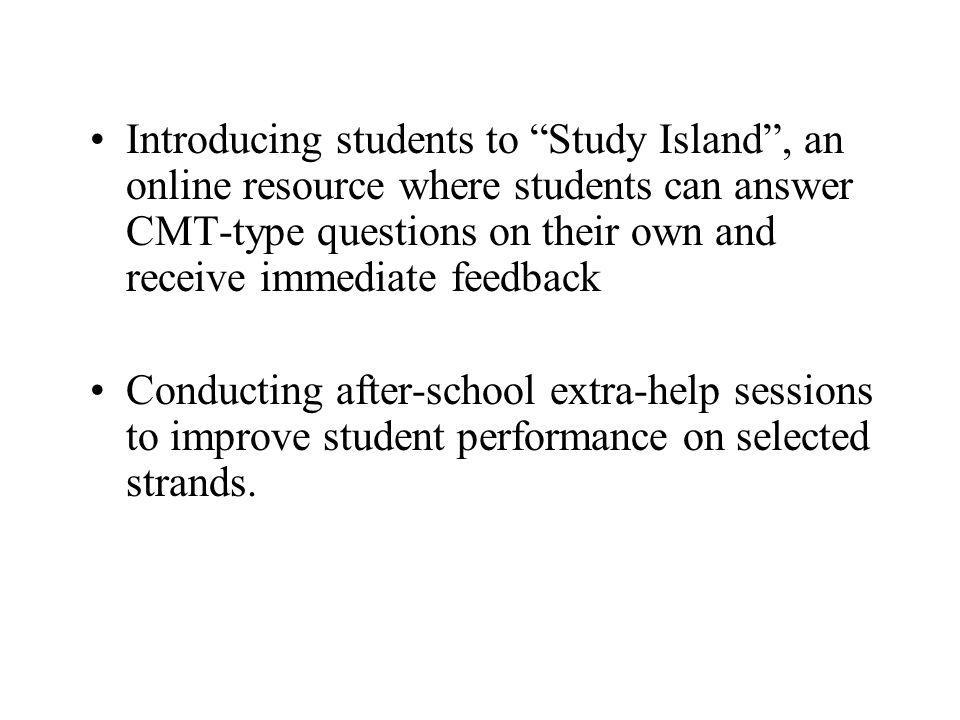 Introducing students to Study Island, an online resource where students can answer CMT-type questions on their own and receive immediate feedback Cond