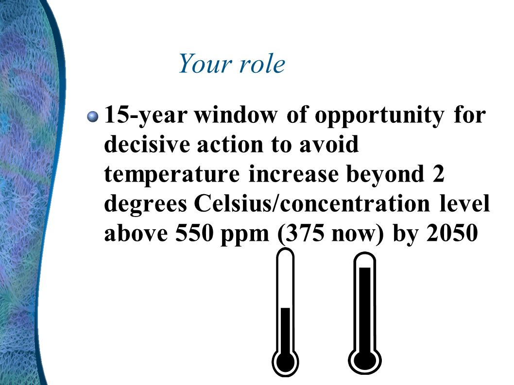 Your role 15-year window of opportunity for decisive action to avoid temperature increase beyond 2 degrees Celsius/concentration level above 550 ppm (375 now) by 2050
