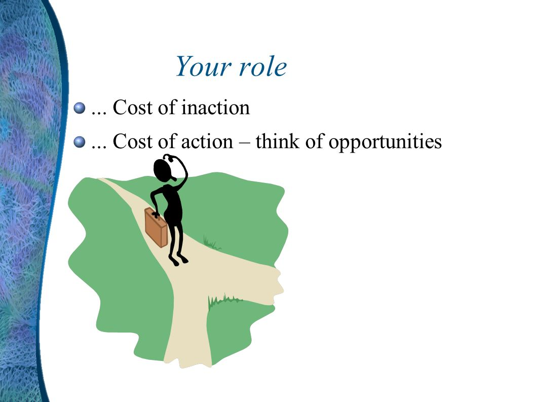 Your role... Cost of inaction... Cost of action – think of opportunities