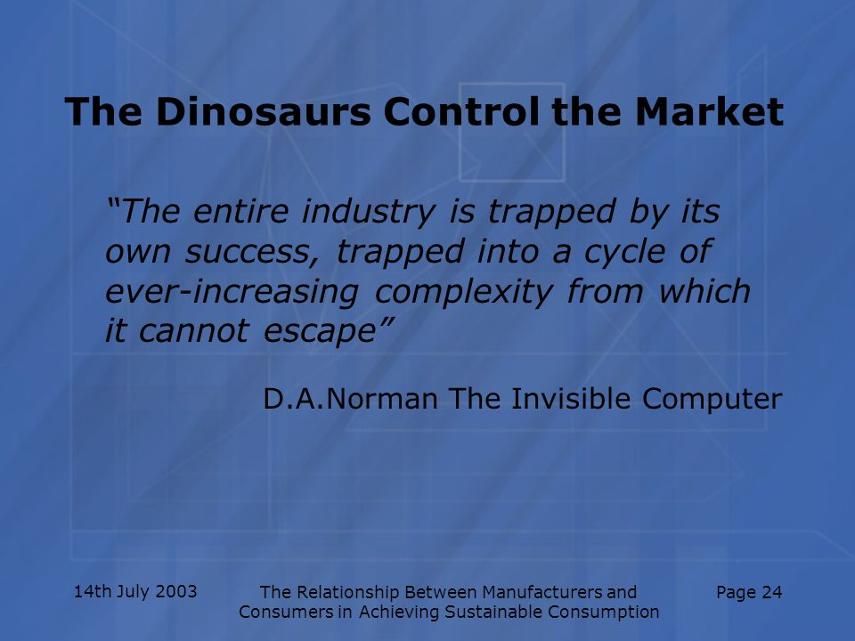14th July 2003The Relationship Between Manufacturers and Consumers in Achieving Sustainable Consumption Page 24 The Dinosaurs Control the Market The e