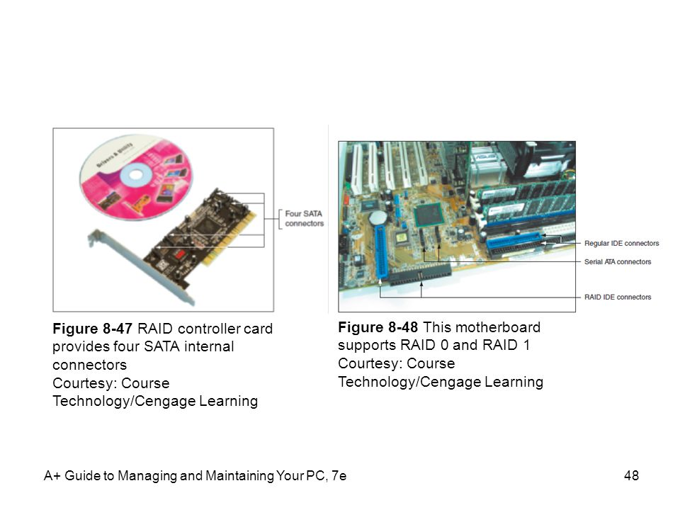 A+ Guide to Managing and Maintaining Your PC, 7e48 Figure 8-47 RAID controller card provides four SATA internal connectors Courtesy: Course Technology