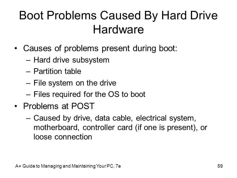 A+ Guide to Managing and Maintaining Your PC, 7e59 Boot Problems Caused By Hard Drive Hardware Causes of problems present during boot: –Hard drive sub