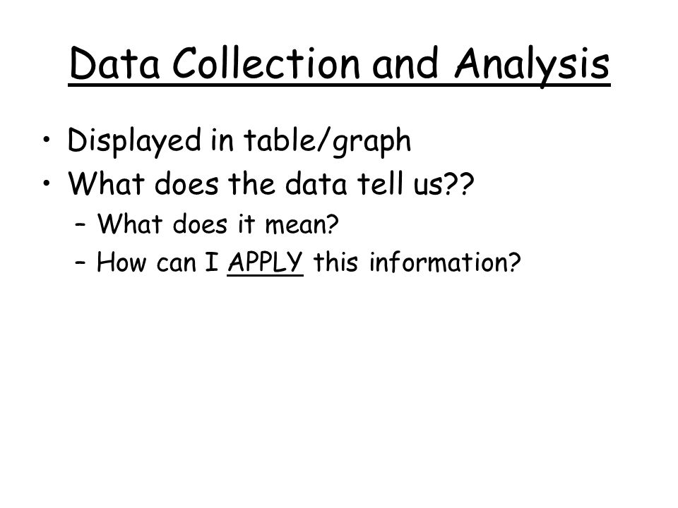 Data Collection and Analysis Displayed in table/graph What does the data tell us?? –What does it mean? –How can I APPLY this information?