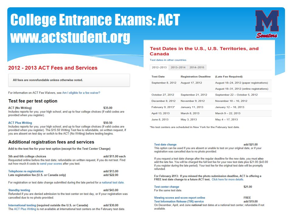 College Entrance Exams: ACT www.actstudent.org