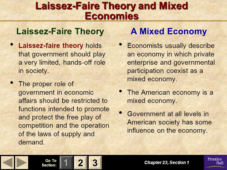 123 Go To Section: Chapter 23, Section 1 2222 3333 Laissez-Faire Theory and Mixed Economies Laissez-Faire Theory Laissez-faire theory holds that gover