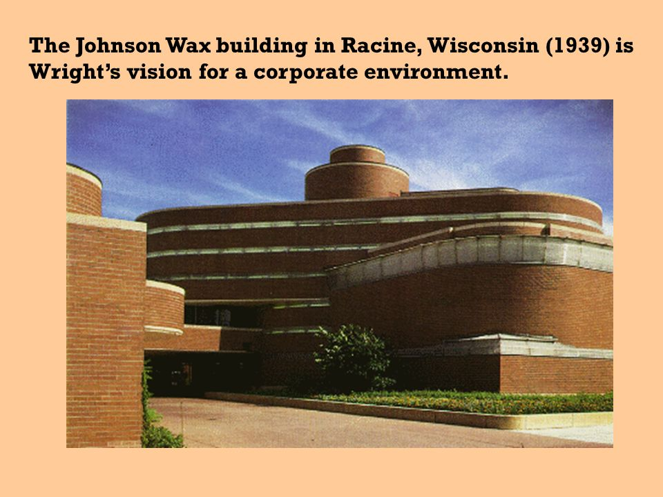 The interior of the Johnson Wax building features this distinctive lily-pad design which allows light to filter to different floors.