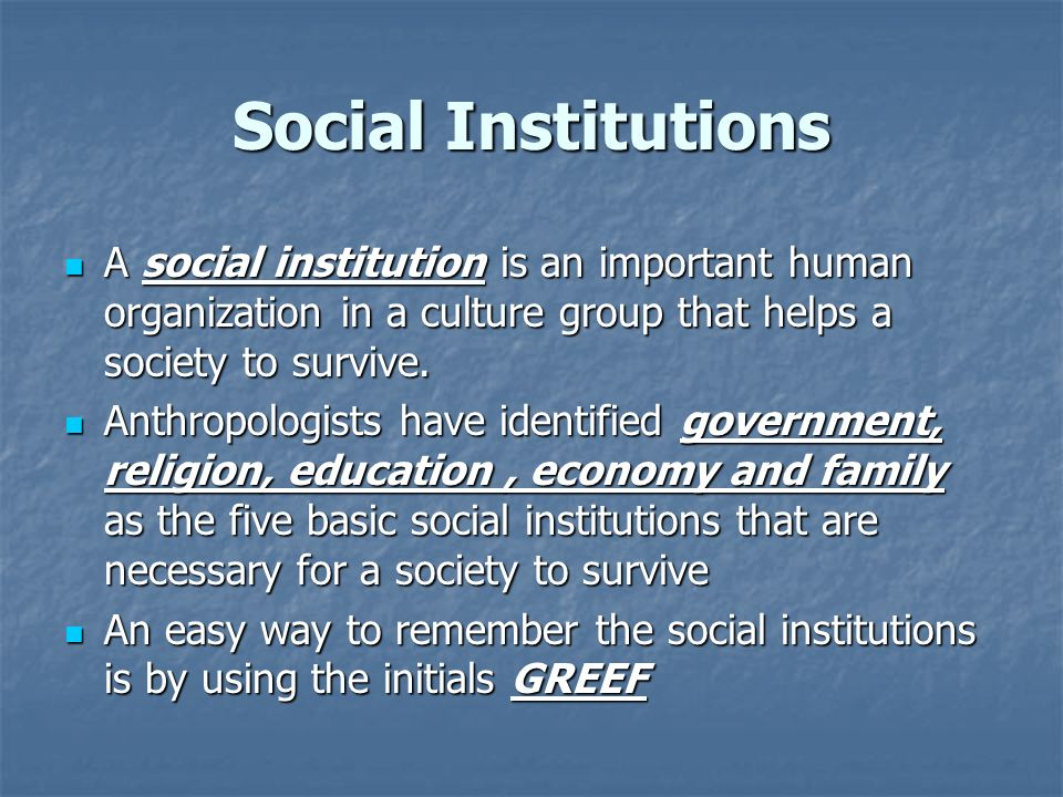 A social institution is an important human organization in a culture group that helps a society to survive. A social institution is an important human