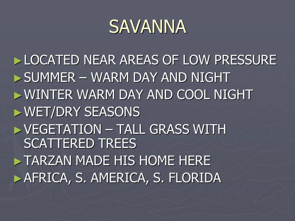 SAVANNA LOCATED NEAR AREAS OF LOW PRESSURE LOCATED NEAR AREAS OF LOW PRESSURE SUMMER – WARM DAY AND NIGHT SUMMER – WARM DAY AND NIGHT WINTER WARM DAY