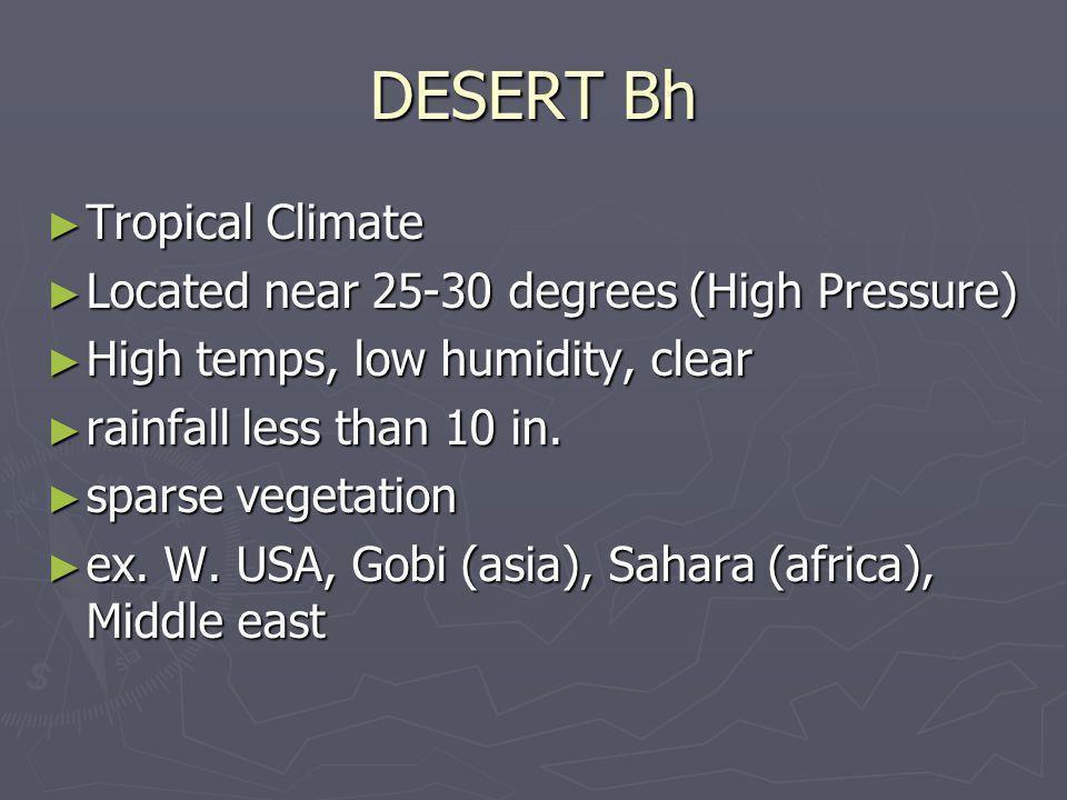DESERT Bh Tropical Climate Tropical Climate Located near 25-30 degrees (High Pressure) Located near 25-30 degrees (High Pressure) High temps, low humi