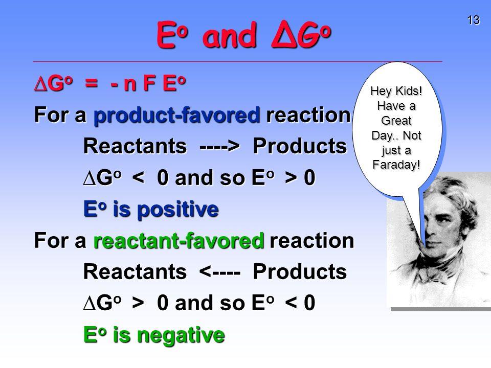 13 E o and G o G o = - n F E o For a product-favored reaction Reactants ----> Products Reactants ----> Products G o 0 E o is positive For a reactant-favored reaction Reactants <---- Products Reactants <---- Products G o > 0 and so E o 0 and so E o < 0 E o is negative Hey Kids.