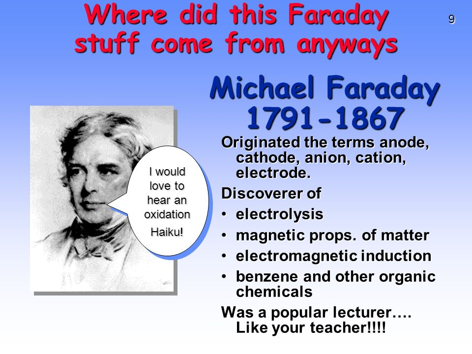 9 Michael Faraday 1791-1867 Originated the terms anode, cathode, anion, cation, electrode. Discoverer of electrolysiselectrolysis magnetic props. of m