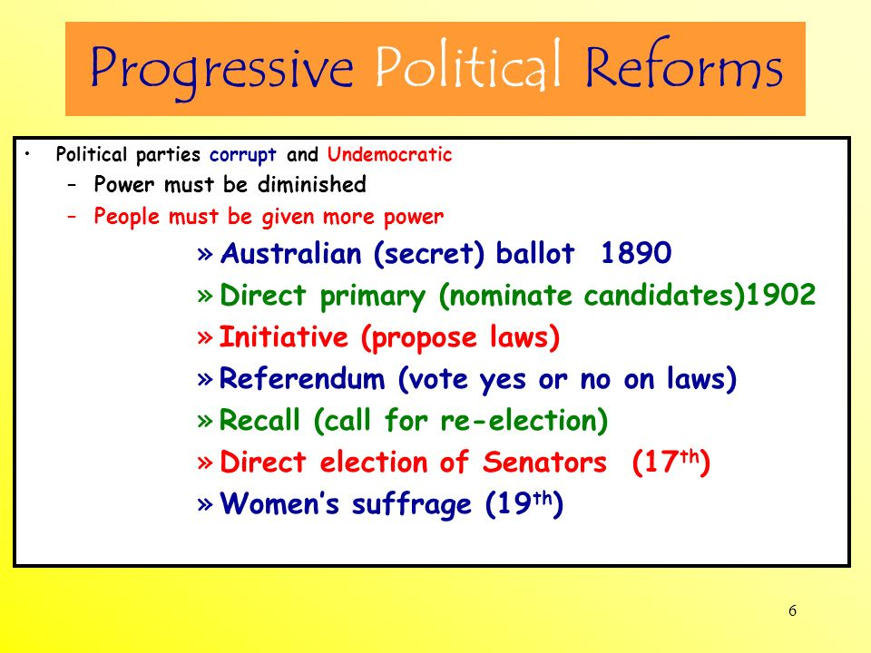 6 Progressive Political Reforms Political parties corrupt and Undemocratic –Power must be diminished –People must be given more power »Australian (sec