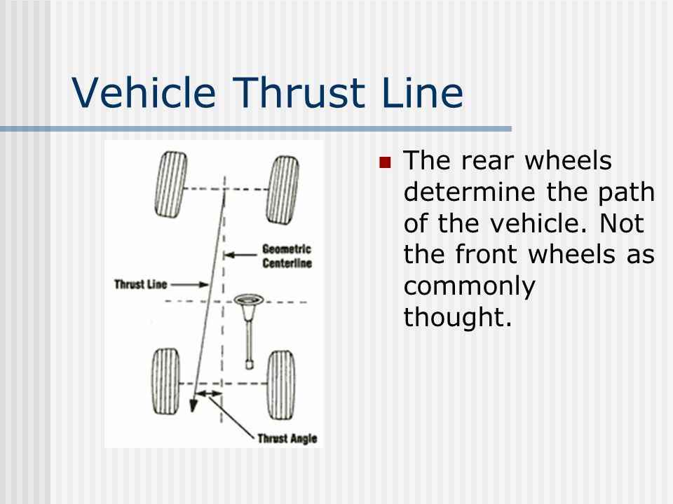 Vehicle Thrust Line The rear wheels determine the path of the vehicle. Not the front wheels as commonly thought.
