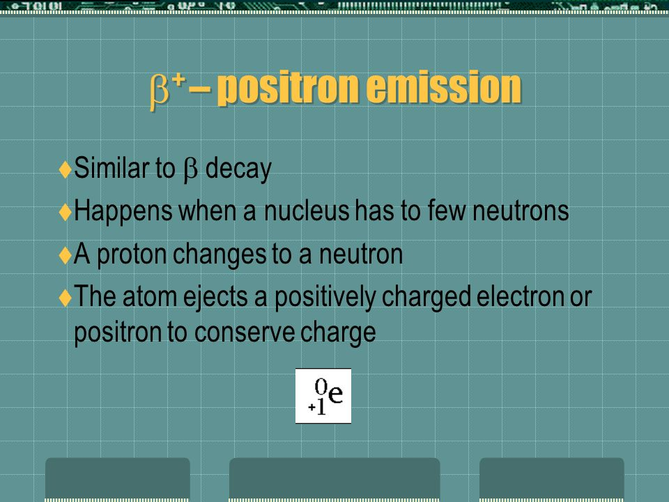 + – positron emission Similar to decay Happens when a nucleus has to few neutrons A proton changes to a neutron The atom ejects a positively charged electron or positron to conserve charge
