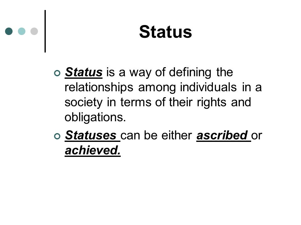 The Parts of Social Structure Social structure is the network of interrelated statuses and roles that guide human interaction A status is a socially d