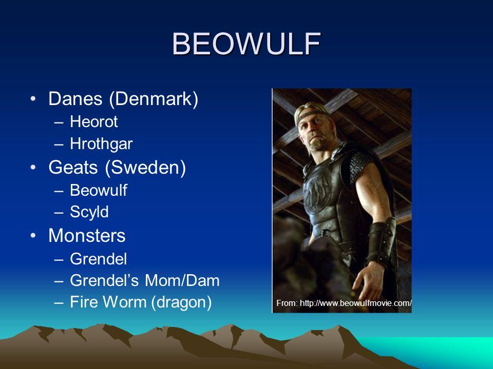 BEOWULF Danes (Denmark) –Heorot –Hrothgar Geats (Sweden) –Beowulf –Scyld Monsters –Grendel –Grendels Mom/Dam –Fire Worm (dragon) From: http://www.beowulfmovie.com/