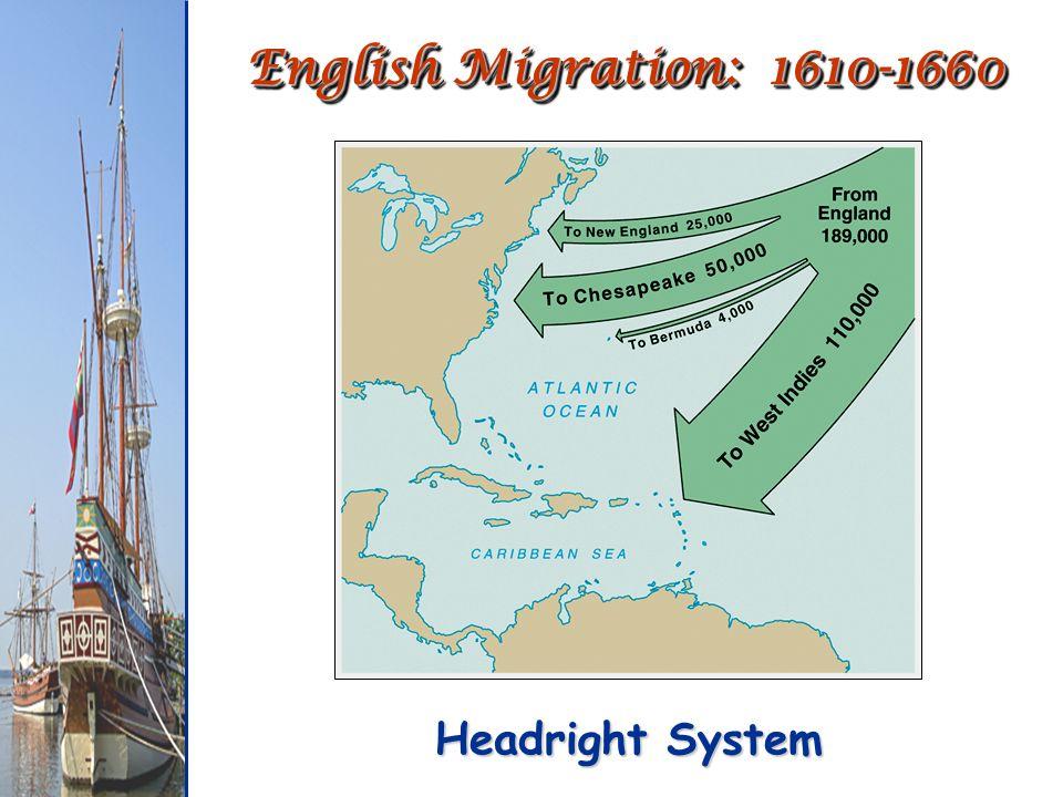 English Migration: 1610-1660 Headright System