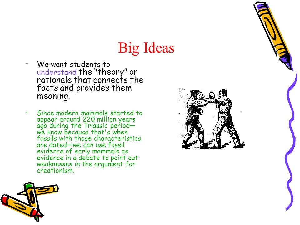 Big Ideas We want students to understand the theory or rationale that connects the facts and provides them meaning. Since modern mammals started to ap