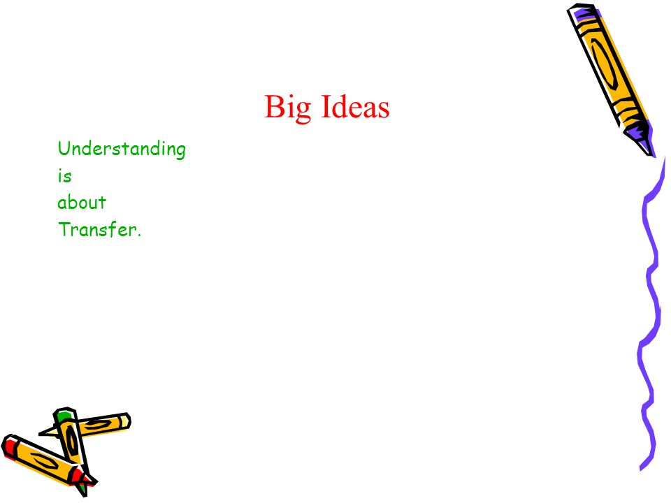 Big Ideas Understanding is about Transfer.