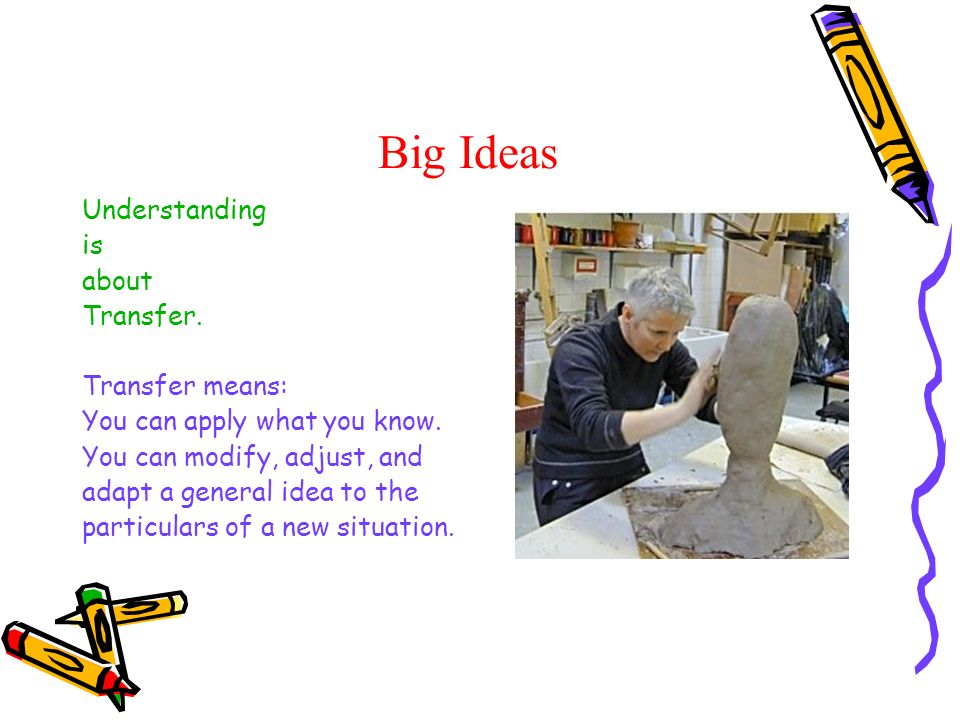 Big Ideas Understanding is about Transfer. Transfer means: You can apply what you know. You can modify, adjust, and adapt a general idea to the partic