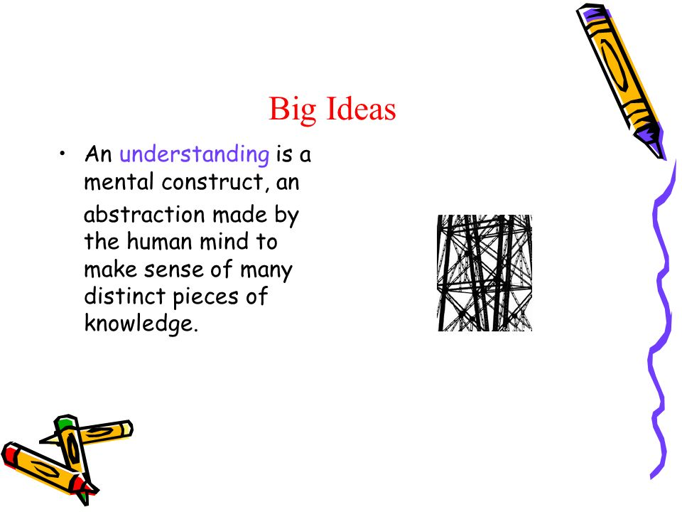 Big Ideas An understanding is a mental construct, an abstraction made by the human mind to make sense of many distinct pieces of knowledge.