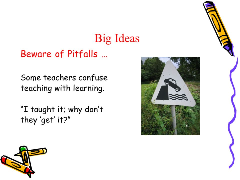 Big Ideas Beware of Pitfalls … Some teachers confuse teaching with learning. I taught it; why dont they get it?