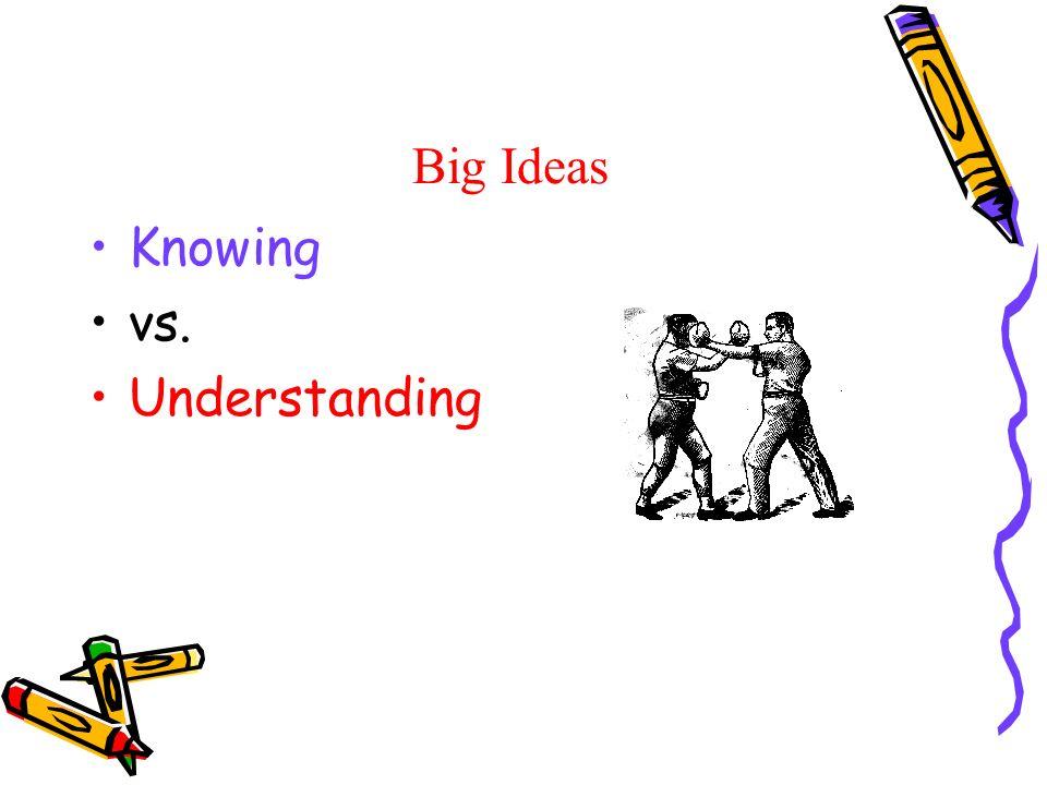 Big Ideas Knowing vs. Understanding