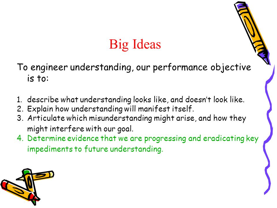 Big Ideas To engineer understanding, our performance objective is to: 1.describe what understanding looks like, and doesnt look like. 2.Explain how un