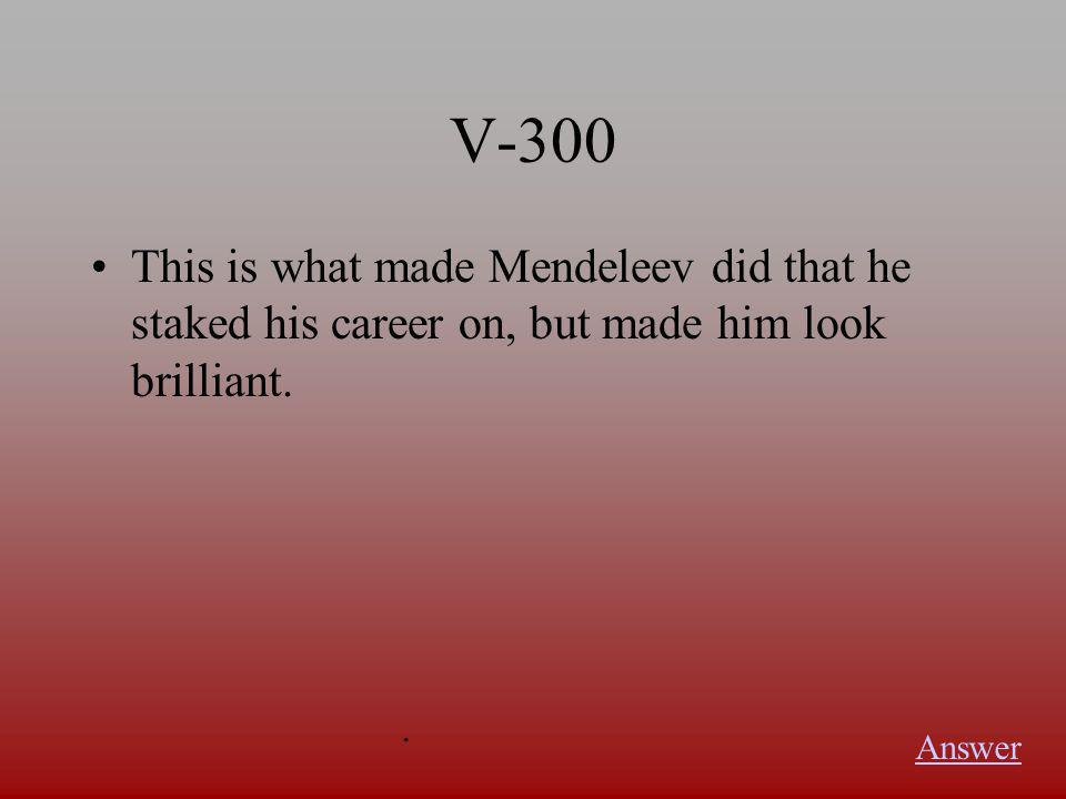 V-200 Mendeleev arranged the elements by increasing this. Answer.