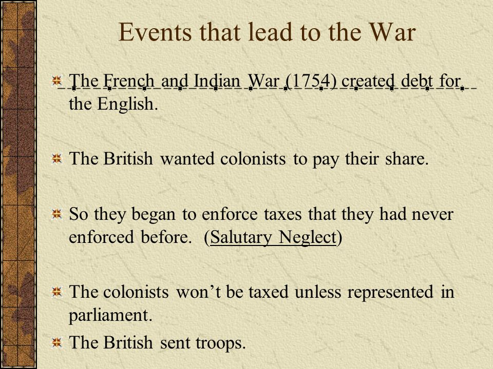 Events that lead to the War The French and Indian War (1754) created debt for the English. The British wanted colonists to pay their share. So they be