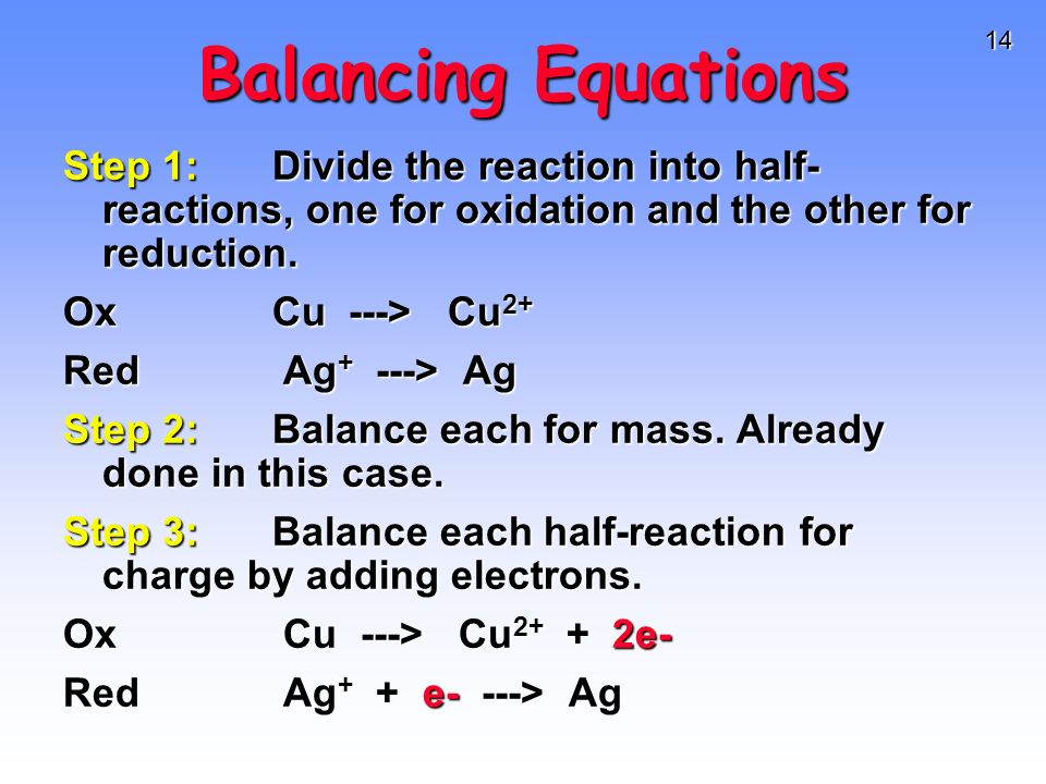 14 Balancing Equations Step 1:Divide the reaction into half- reactions, one for oxidation and the other for reduction. OxCu ---> Cu 2+ Red Ag + ---> A