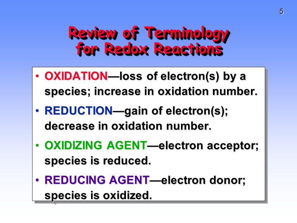 6 Review of Cheesy Ways to remember these terms OIL RIGOIL RIG (Oxidation Is Losing, Reduction Is Gaining)(Oxidation Is Losing, Reduction Is Gaining) LEO (the lion) goes GERLEO (the lion) goes GER Losing Electrons Oxidation, Gaining Electrons ReductionLosing Electrons Oxidation, Gaining Electrons Reduction OLE -OLE - Oxidation Losing ElectronsOxidation Losing Electrons OIL RIGOIL RIG (Oxidation Is Losing, Reduction Is Gaining)(Oxidation Is Losing, Reduction Is Gaining) LEO (the lion) goes GERLEO (the lion) goes GER Losing Electrons Oxidation, Gaining Electrons ReductionLosing Electrons Oxidation, Gaining Electrons Reduction OLE -OLE - Oxidation Losing ElectronsOxidation Losing Electrons