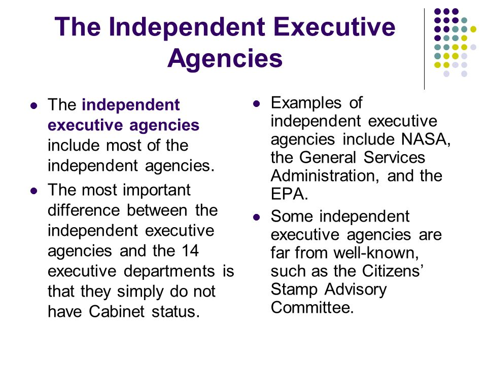 The Independent Executive Agencies Examples of independent executive agencies include NASA, the General Services Administration, and the EPA. Some ind