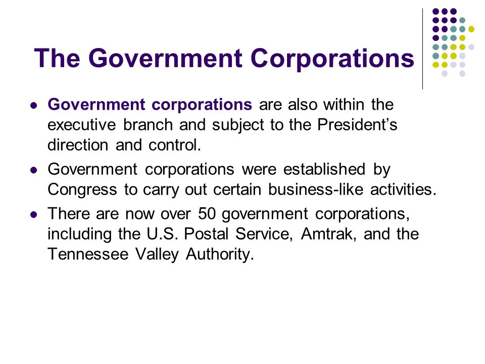 The Government Corporations Government corporations are also within the executive branch and subject to the Presidents direction and control. Governme