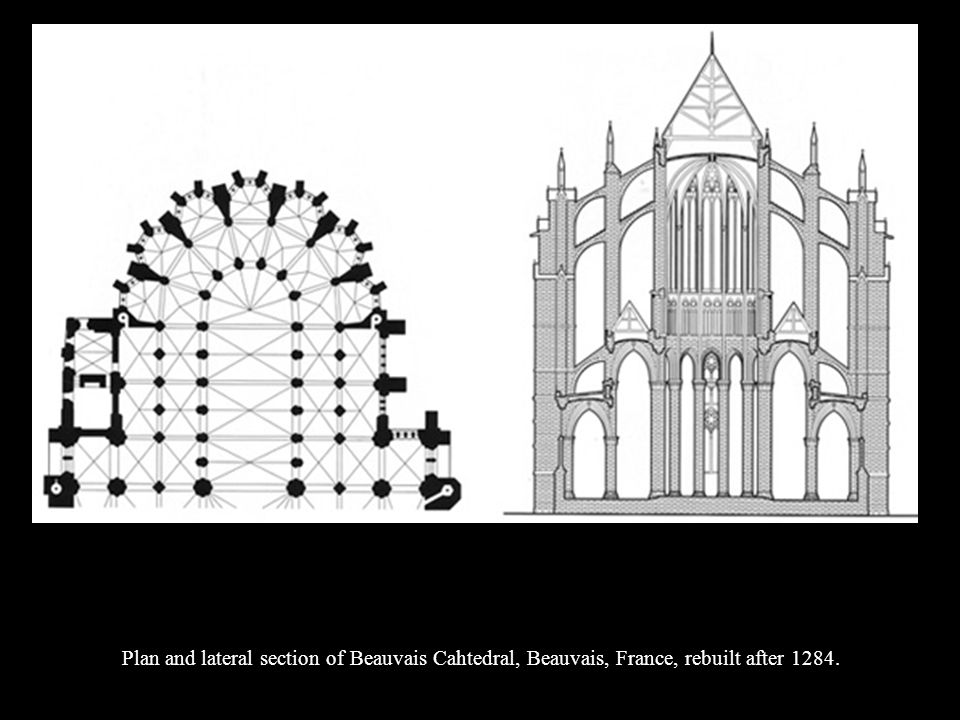 Plan and lateral section of Beauvais Cahtedral, Beauvais, France, rebuilt after 1284.