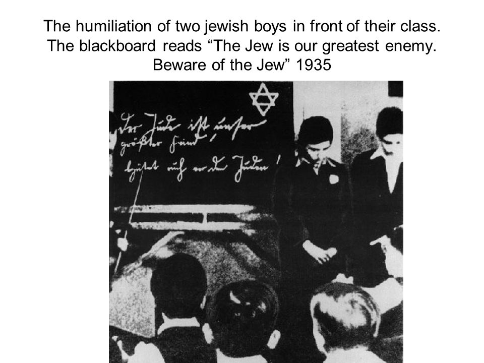 The humiliation of two jewish boys in front of their class.