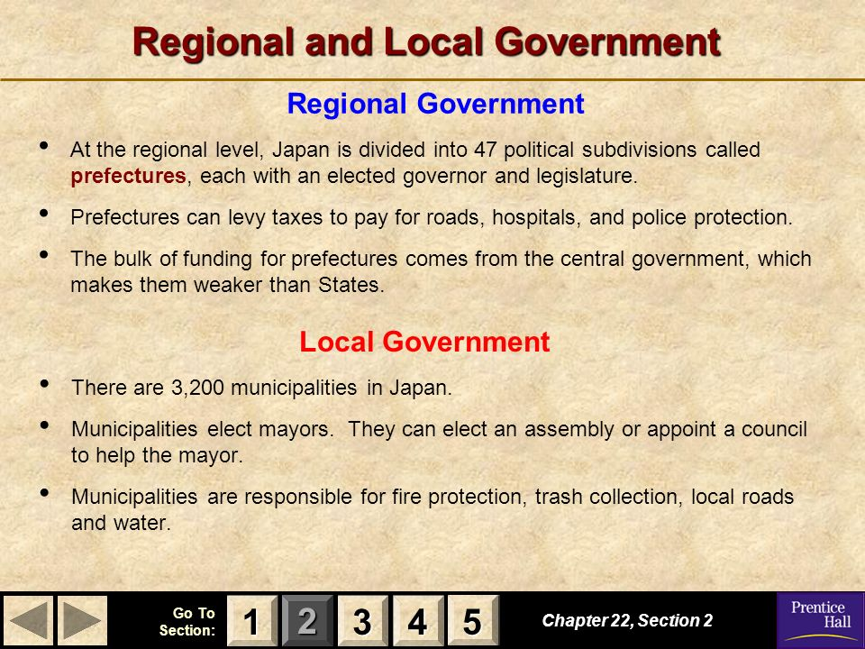 123 Go To Section: 4 5 Regional and Local Government Regional Government At the regional level, Japan is divided into 47 political subdivisions called