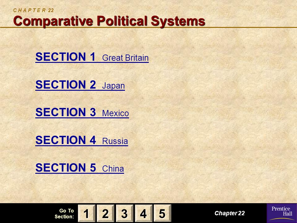 123 Go To Section: 4 5 Comparative Political Systems C H A P T E R 22 Comparative Political Systems SECTION 1 Great Britain SECTION 2 Japan SECTION 3