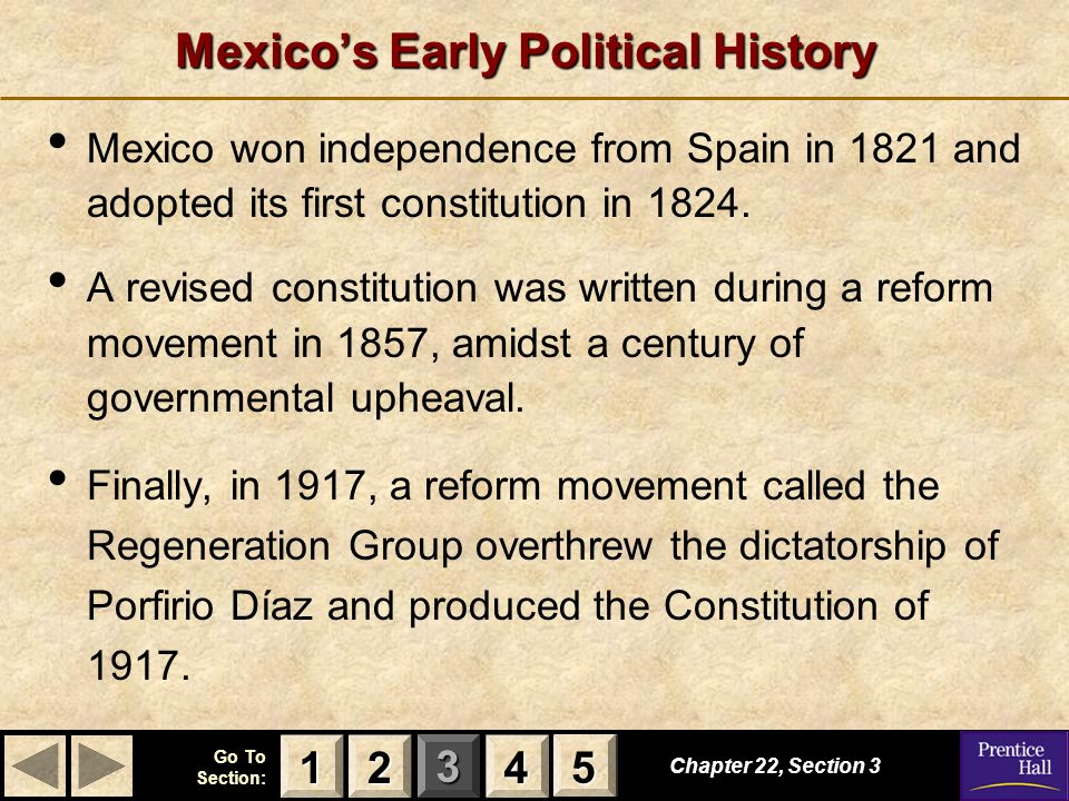 123 Go To Section: 4 5 Mexicos Early Political History Chapter 22, Section 3 2222 4444 1111 5555 Mexico won independence from Spain in 1821 and adopte