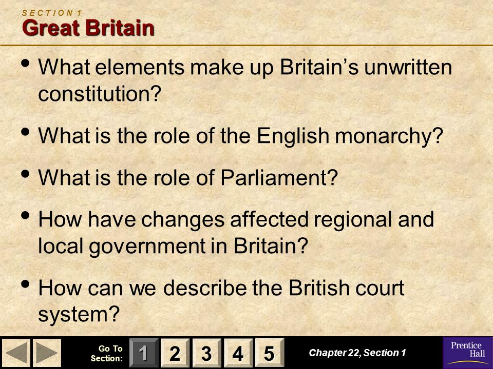 123 Go To Section: 4 5 Chapter 22, Section 1 Great Britain S E C T I O N 1 Great Britain What elements make up Britains unwritten constitution? What i