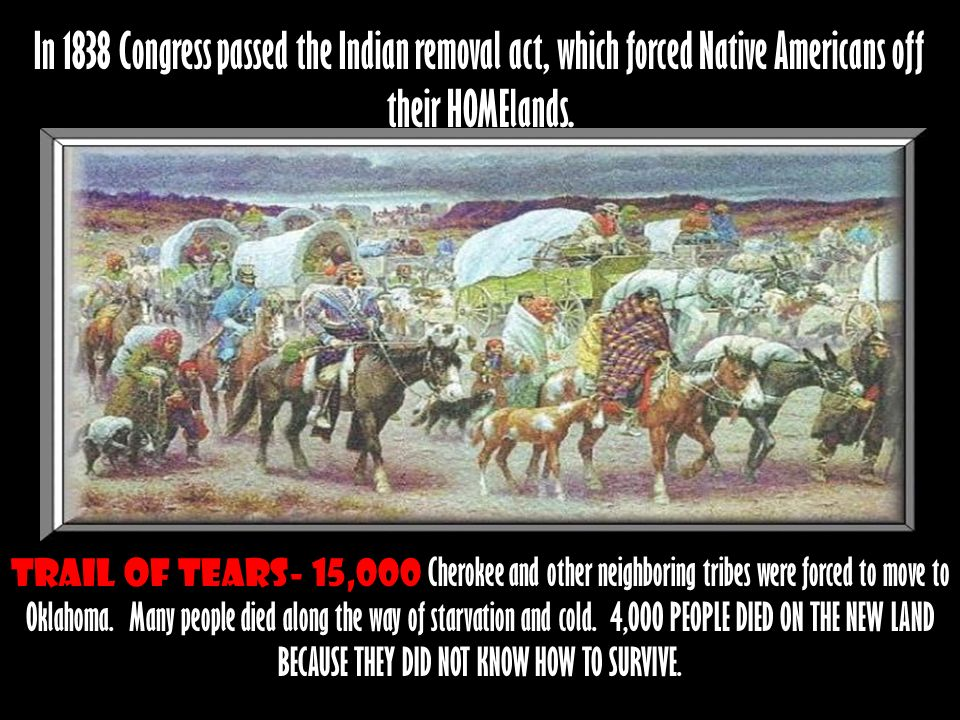 Trail of tears- 15,000 Cherokee and other neighboring tribes were forced to move to Oklahoma. Many people died along the way of starvation and cold. 4