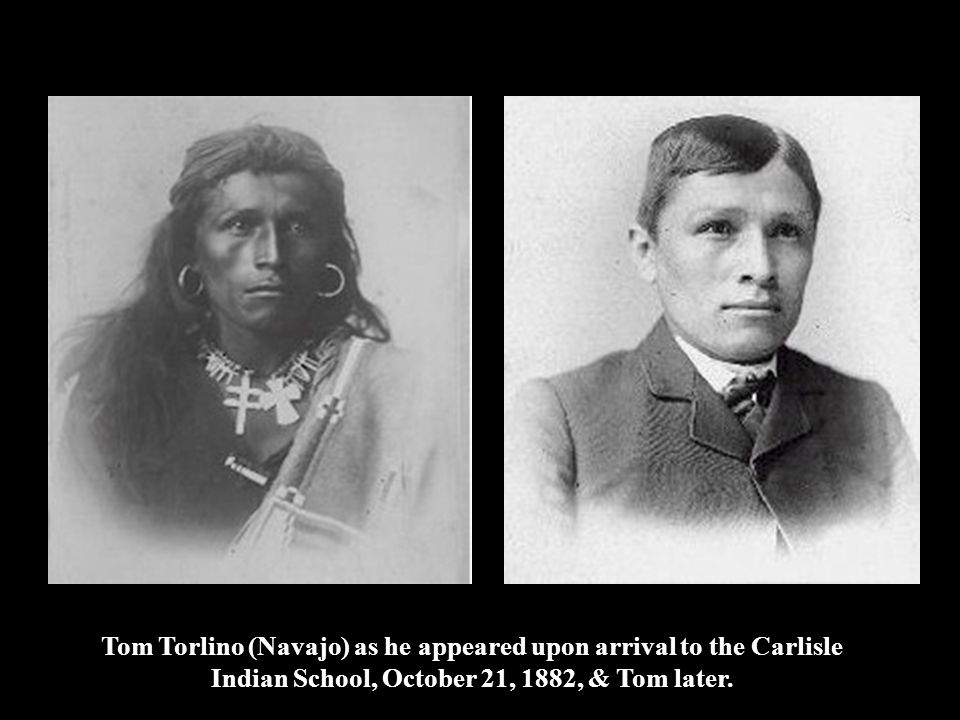 Tom Torlino (Navajo) as he appeared upon arrival to the Carlisle Indian School, October 21, 1882, & Tom later.