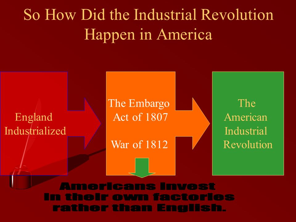 So How Did the Industrial Revolution Happen in America England Industrialized The Embargo Act of 1807 War of 1812 The American Industrial Revolution