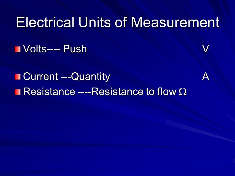 Electrical Units of Measurement Volts---- PushV Current ---QuantityA Resistance ----Resistance to flow Resistance ----Resistance to flow