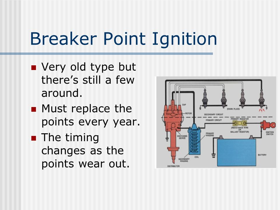 Breaker Point Ignition Very old type but theres still a few around. Must replace the points every year. The timing changes as the points wear out.