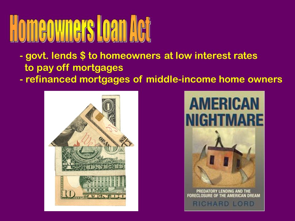 - govt. lends $ to homeowners at low interest rates to pay off mortgages - refinanced mortgages of middle-income home owners