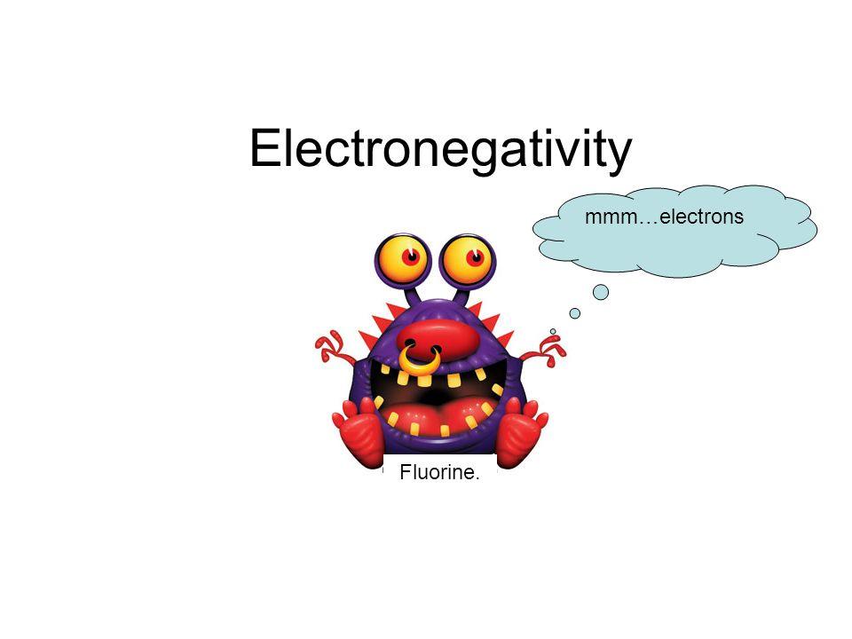Electronegativity Fluorine. mmm…electrons