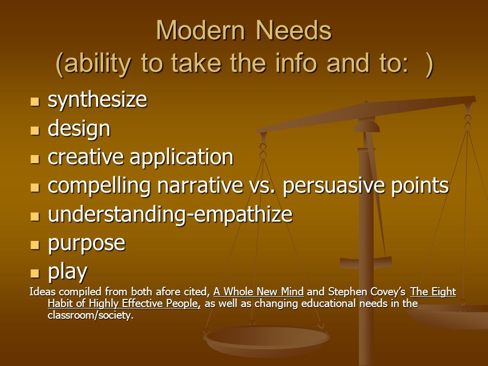 Modern Needs (ability to take the info and to: ) synthesize synthesize design design creative application creative application compelling narrative vs.