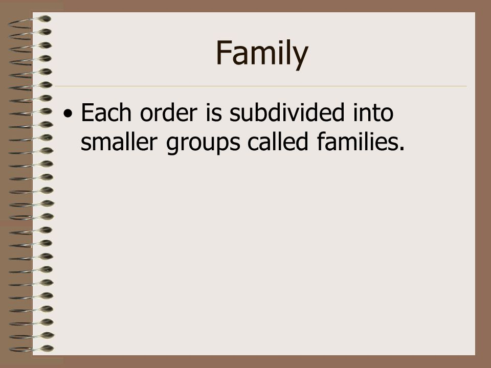 Family Each order is subdivided into smaller groups called families.